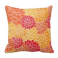 Orange Floral Print Throw Pillow