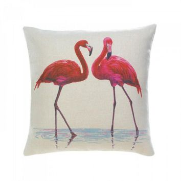Flamingo Couple Decorative Pillow