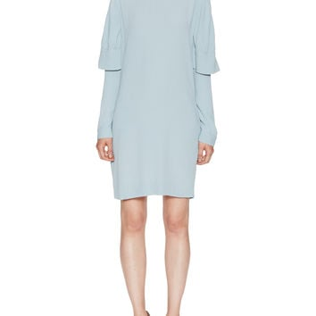 Crepe Roundneck Long Sleeve Overlay ]Dress