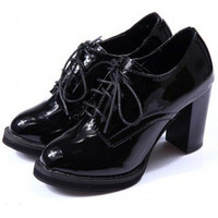 Pu Pure Color British Style Lace Up Thick Heel Oxford Boots