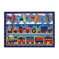 "Fun Rugs Olive Kids Trains, Planes And Trucks Home Decorative Accent Area Rug 39""""X58"""""