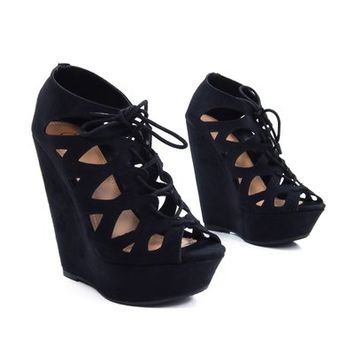 Getty Black IMSU Womens Platform Wedge Sandal Lace-Up Peep-Toe New Shoe