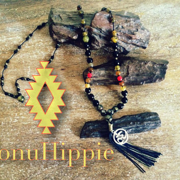 "Boho Tassel necklace ""om"" symbol on long boho hippie Mala pendant"
