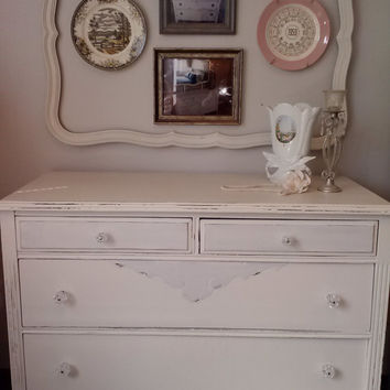 Shabby Chic Vintage Painted & Distressed Dresser Off White and Gray