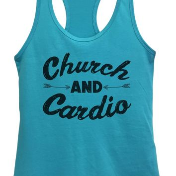 Womens Church And Cardio Grapahic Design Fitted Tank Top
