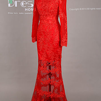 Sexy Red Long Sleeves Mermaid Lace Prom Dress/Prom Dress Mermaid/See Through Mermaid Party Dress/Red Evening Dresses/Wedding Dress DH417