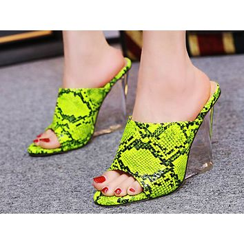 Fashion Ladies Sandals Summer New Open-toed Crystal Slope-heeled Fishmouth High-heeled Shoes 6 Colors Green serpentine