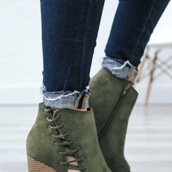 Steal Your Heart Booties - Olive
