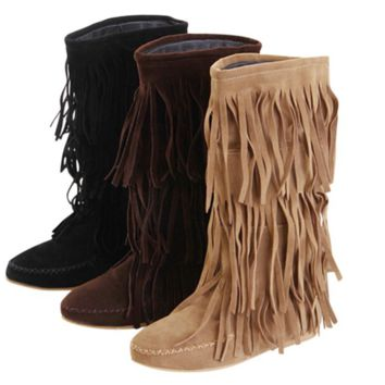 Leather suede mid-calf moccasin boots