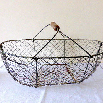 Large Antique French Oyster/Wire Gathering Basket Home Decor