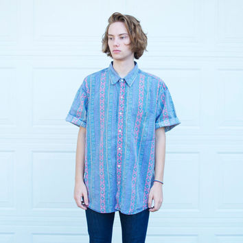 Vintage 90's Aztec Woolrich Button Up Shirt