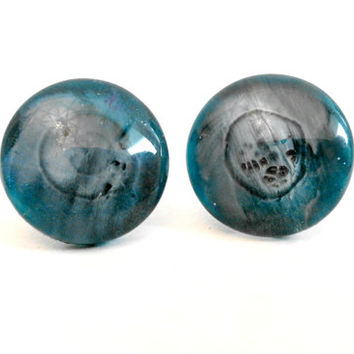 Denim Inspired Colours Crackle Effect Round Glass Cabochon Stud Earrings