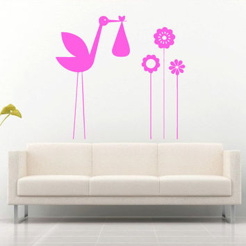 Wall decal art decor decals sticker bedroom design mural stork child bird flower baby heron nursery (m918)