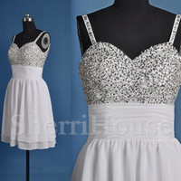 Sequins Strapless Sheath Short Bridesmaid Celebrity dress ,Simple Chiffon Evening Party Prom Dress Homecoming Dress