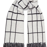 Rag & bone - Mallori fringed checked merino wool scarf