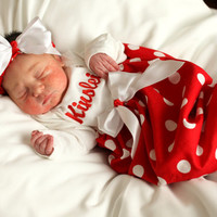 Christmas Red Monogrammed Baby Layette Gown...Coming Home Outfit...Photo Prop
