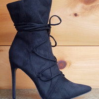 "Destiny Black FX Suede Pointy Toe 4.5"" Heel Lace Up Design Ankle Boot"