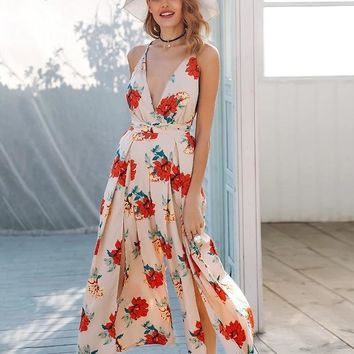 Madelyn Deep-V Wrapped Maxi Jumpsuit