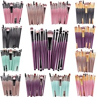15 Pcs Kit Makeup Brushes Set Eye Shadow Brow Eyeliner Eyelash Lip Foundation Power Cosmetic Make Up Brush Beauty Tool