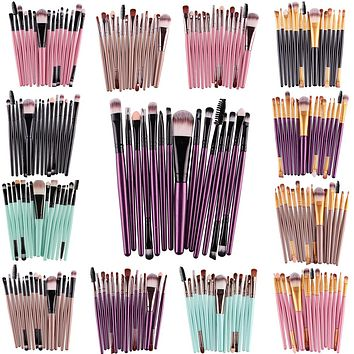 Pro 15Pcs Eye Shadow Foundation Eyebrow Eyeliner Eyelash Lip Brush Makeup Brushes Cosmetic Tool Make Up Eye Brush Set