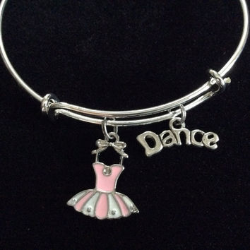 Dance with Pink Tutu on a Silver Adjustable Bangle Charm Bracelet Ballet (Kid's Size Available upon request)