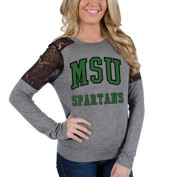Michigan State Spartans Women's Isabel Lace Long Sleeve T-Shirt – Gray