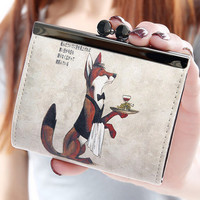 Korean Women Girl Graffiti Printed Purse Printing Crown Wallet Card Holder PU Leather Cartoon Wallet Female Purse Clutch  SN9