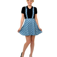 Retro Style Blue & White Hearts Bael Suspender Flare Skirt