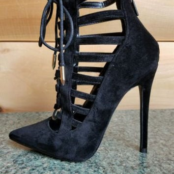 Alba Jamie Black Cut Out Pointy Toe Lace Up Ankle Boot 5.5-10