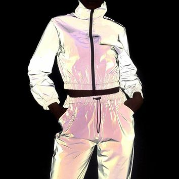 HOT SELLER! Ladies  Neon Reflective 2 Piece Fitness Yoga Workout Outfit