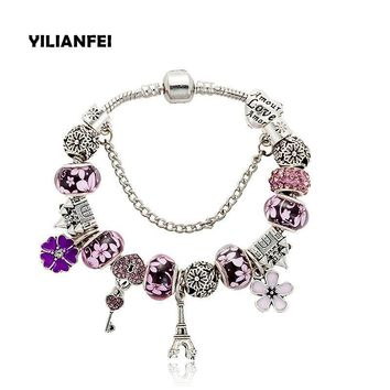 YILIANFEI The Eiffel Tower two colors Crystal/Glass Beads Charm Pandora Bracelets and