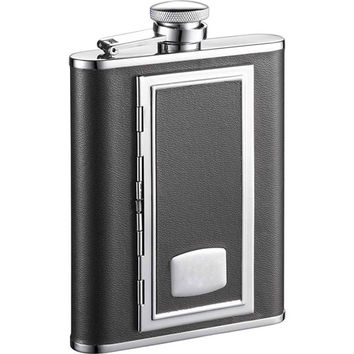 Visol SP Black Leather 6-oz Flask with Built-In Cigarette Case