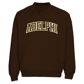 Adelphi University Panthers Arch Name Pullover Windbreaker Jacket - Brown