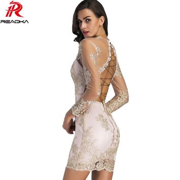 2018 New Summer Elegant Sequin Dress Women Lace Deep V Neck Backless Bandage Hollow Out Sundress Vestidos Sexy Mini Party Dress
