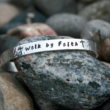 Walk by Faith  Hand Stamped Textured Bracelet by KennabelleDesigns