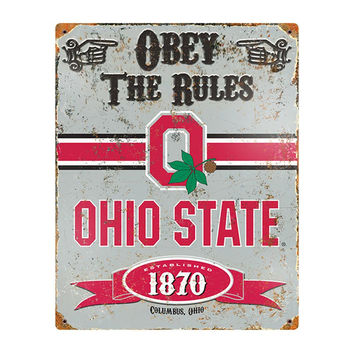 Ohio State Buckeyes NCAA Vintage Metal Sign (11.5in x 14.5in)