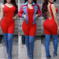 Women Sexy Bodycon Jumpsuit 2016 Plus Size Backless Rompers Summer Hot Sale Club Bodysuit Sleeveless Long Overalls Solid Color