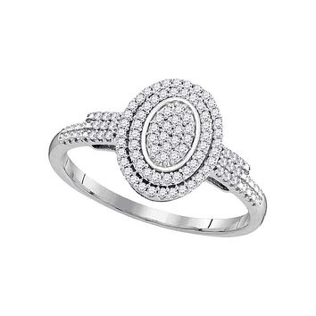 10kt White Gold Women's Round Diamond Oval Cluster Bridal Wedding Engagement Ring 1/4 Cttw - FREE Shipping (US/CAN)