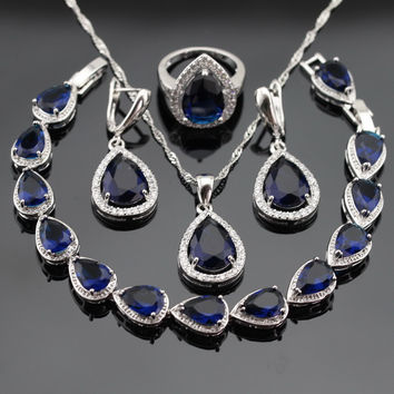 Christmas Gift Silver Color Jewelry Sets For Women Created Blue Sapphire White Topaz Bracelet Earrings Necklace Pendant Rings
