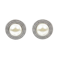 Ivory & Silver Pearl Post Earrings