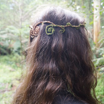 Woodland Gypsy moss, vine, dream catcher, elven, tiara circlet