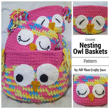 Crochet Basket Pattern, Instant Download Tutorial Pattern, Nesting Baskets, Crochet Bowls, Round Yarn Containers