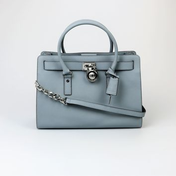 Michael Kors Dusty Blue Lock and Key Satchel