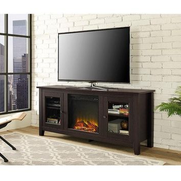 Espresso Fireplace TV Stand with Glass Doors