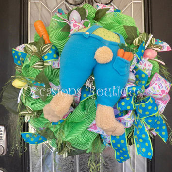 Easter Wreath, Spring Wreath, Easter Door Hanger, Easter Bunny Wreath, Front Door Wreath, Wreath for Door, Whimsical Wreath
