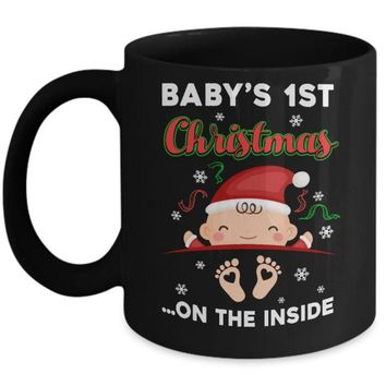 DCKIJ3 Baby's 1St Christmas On The Inside Pregnant Mug