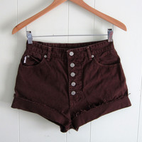 Vintage High Waisted Cut Off Denim Shorts Brown Jean Cuffed Button Fly 27""
