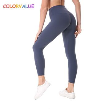 Colorvalue Plus Size Hip-Up Sport Fitness Pants Women Solid High Waisted Gym Running Tights Stretchy Nylon+Spandex Yoga Pants