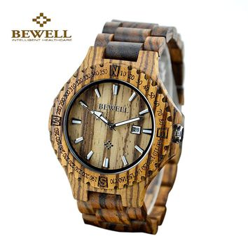 BEWELL Wood Watch for Men Lightweight Unique Wooden Watches Luxury Brand Quartz Wrist Watch Men's Wood Watch with Calendar