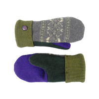 Purple and Green Mittens, Wool Mittens, Recycled Mittens, Women's Mittens Handmade in Wisconsin Fleece Lined Gift Upcycled SweatyMitts